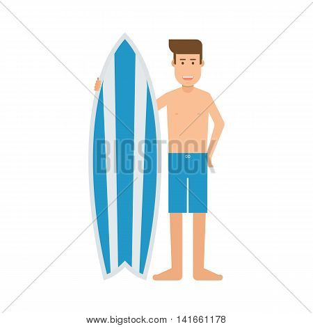 Surfboarder Man With Surf Desk