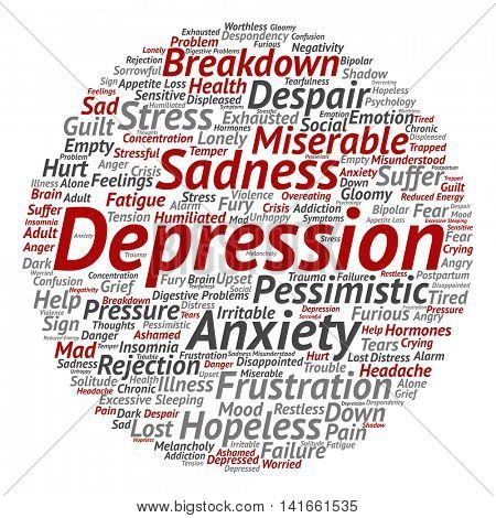 Concept conceptual depression or mental emotional disorder abstract round word cloud isolated on background