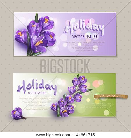 Set. Two greeting cards for the holiday, with blue crocuses