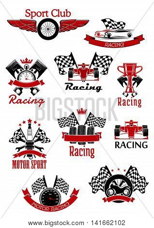 Motorsport symbols framed by ribbon banners and stars for sports theme design usage with racing cars, motorcycle and race flags, trophy, wheels and speedometer, pistons, spark plug, winged tire and stopwatch