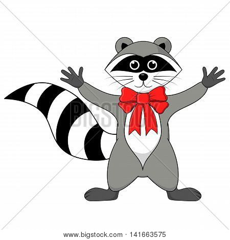 Raccoon Gargle With Bow On The Neck Illustration On A White Background In Vector