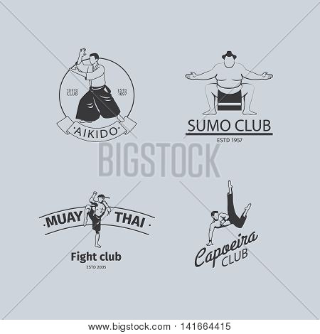 Fight club logo or MMA emblem set. Capoeira and sumo, aikido and thai boxing logos. Vector illustration