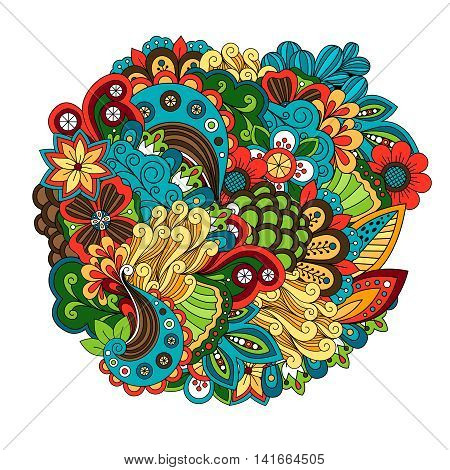 Ethnic colored floral zentangle like doodle circular pattern vector
