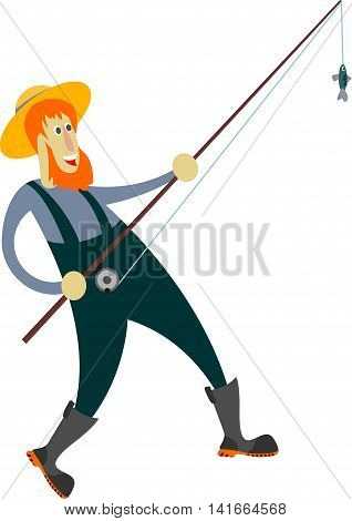 Vector illustration of a fisherman caught a small fish