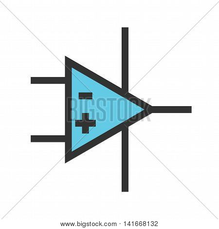 Amplifier, technology, operational icon vector image. Can also be used for electric circuits. Suitable for use on web apps, mobile apps and print media.