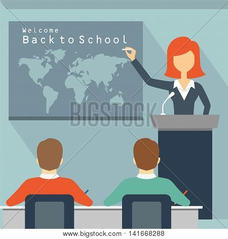 Education professor teacher students school boards classroom back to school college vector illustration