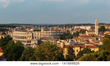 Historic Center of Pula City viewed from the Castle , Istria, Croatia