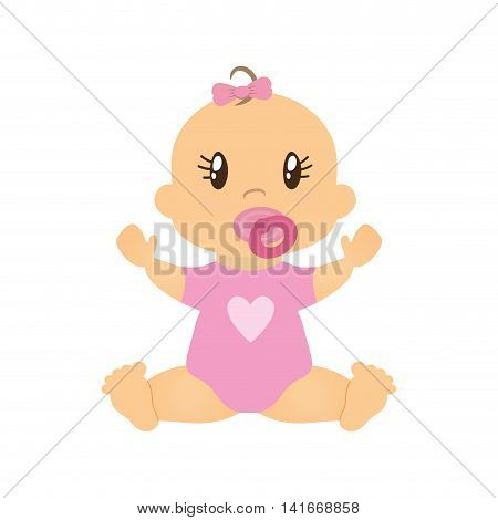 girl baby cute little childhood icon. Isolated and flat illustration. Vector graphic