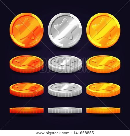 Gold, silver, and copper coins in different positions. Vector elements for animation and computer games. Set of metal coins, illustration of coin money