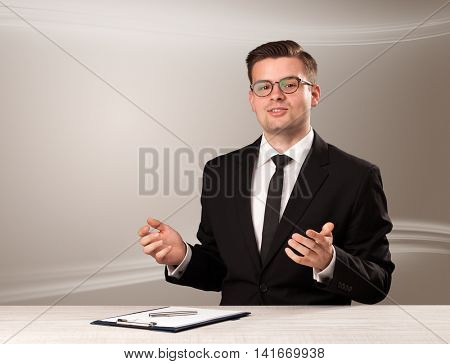 Televison presenter host in live show with blank background
