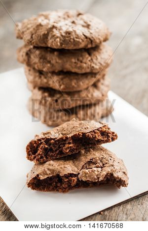 Chocolate Chip Cookies, Meringue With Cracks On A Rustic Background