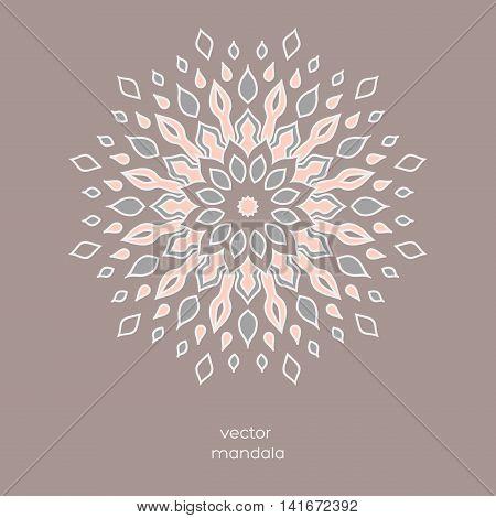 Hand drawn colorful floral mandala. Vintage oriental style. Indian asian arabic islamic ottoman moroccan motif. Vector illustration.