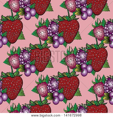 Vector seamless pattern with sweet and sour berries on the light pink background, Vector illustration. Stylish ornate 3d decor elements with shadow and highlights