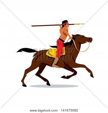 Rider preparing to throw javelin. Isolated on white background