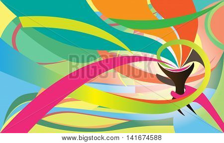 Abstract torch with colorful background. vector illustration.