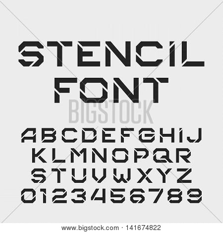 Stencil alphabet font. Tough type letters and numbers. Vector typography for your design.