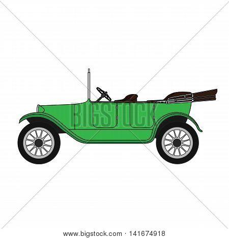 Old green vintage authentic retro cartoon car convertible.