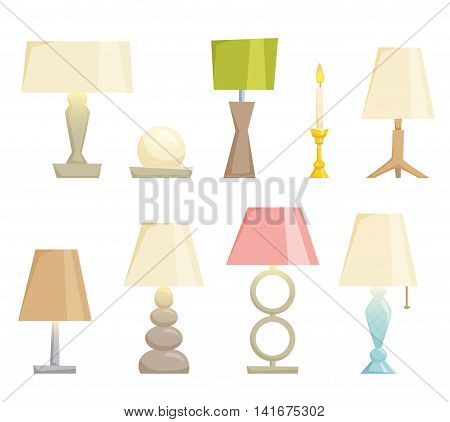 Lampshades on the table set isolated on white background. Interior light design vector illustration. Table lamps. Shade lamps light interior decoration modern and classic style. Turn on lampshades