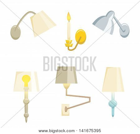Wall lamp set isolated on white background. Interior light design vector illustration. Wall lamp light interior decoration modern and classic style. Turn on wall lamp