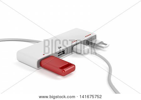 4-port usb hub with connected usb sticks and usb cable, 3D illustration
