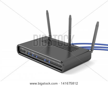Wireless router on white background, 3D illustration