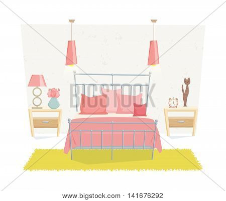 Bedroom interior with furniture and decoration in teen style. Bedroom interior cartoon vector illustration. Bedroom furniture and decor: bed, bedside table, lamp, pillow, shade. Cute girl interior