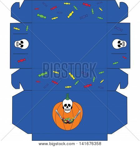 Box with funny cartoon skull and candy for Halloween. Packaging for chocolates, muffins, cupcakes, cookies or gift.