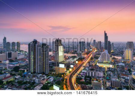Twilight scene of Bangkok City of Thailand Metropolis of Thailand
