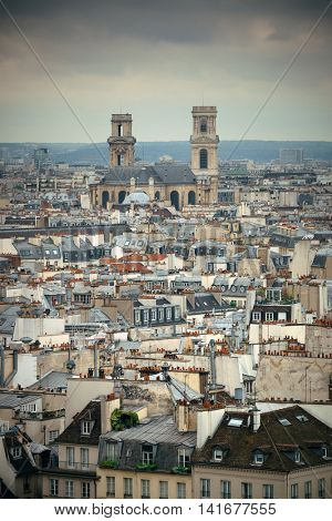 Paris rooftop view from Notre-Dame Cathedral.
