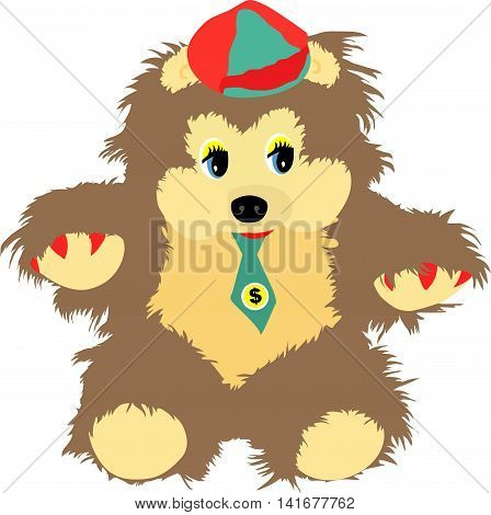 Cartoon Teddy bear in a hat and tie. Vector graphics