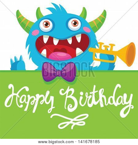 Cute Monster. Cartoon Monster Vector Illustration. Funny Birthday Greeting Card. Birthday Theme. Pocket Monster. Monster Pipes. Noise Funny. Trumpet Solo.