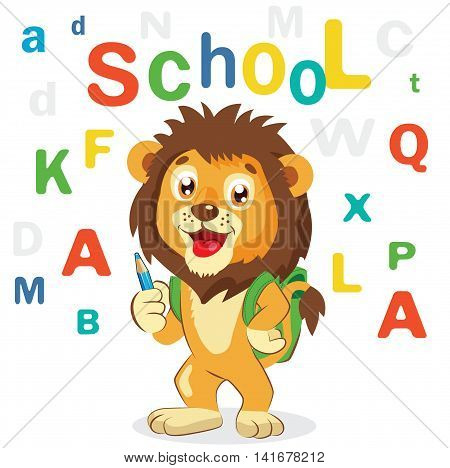 Funny Lion On A White Background. Cartoon Vector Illustrations. Back to School Theme. Colored Letters Vector. Cartoon Lion Mascot.