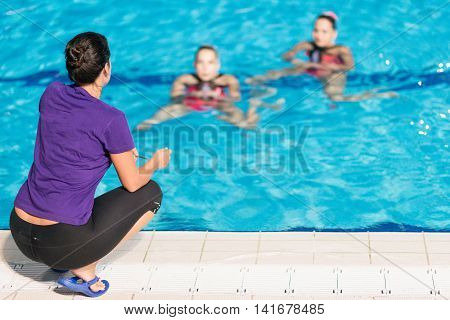 Synchronized Swimming training, color image, horizontal image