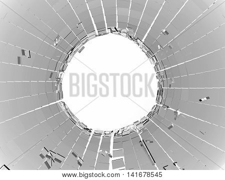 Shattered Glass Over White Background
