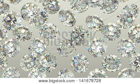 Sparkling Large Diamonds Or Gems Over Grey Background