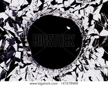 Bullet Hole And Pieces Of Shattered Or Smashed Glass