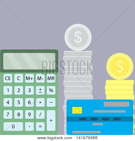 Counting finance design flat. Accounting and calculator money coins and credit card. Vector illustration