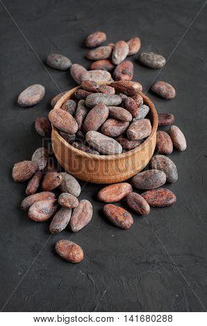 Cacao Beans On A Black Slate