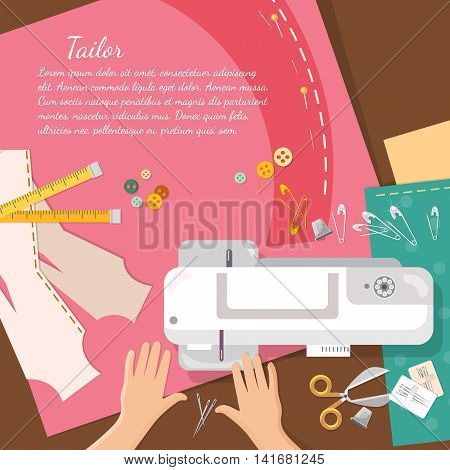 Seamstress work on sewing machine professional tailoring top view vector catoon illustration