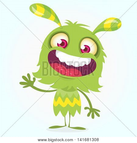 Happy cartoon green and fluffy monster. Halloween vector character