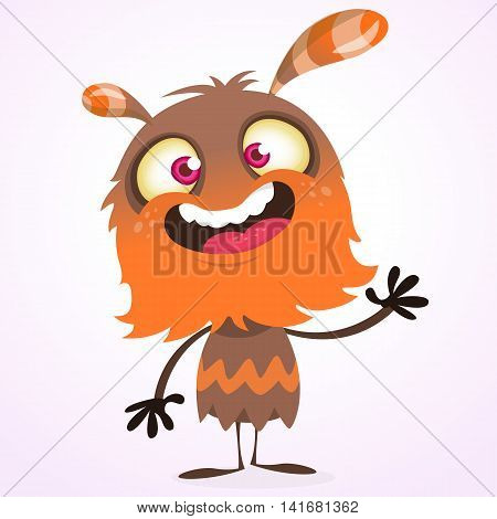 Happy cartoon orange and fluffy monster presenting. Halloween vector character