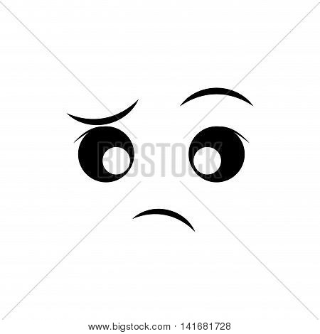 indifferent face cartoon expression emotion icon. Isolated and flat illustration. Vector graphic