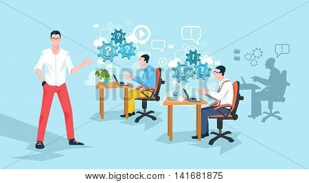 Programmers Working Office Business People Team Workplace Flat Vector Illustration