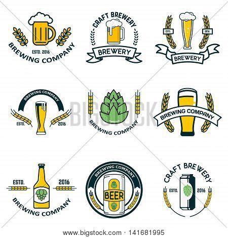 brewery labels and design elements. Beer mugs bottles hop wheat wreath. Design elements for logo label emblem brand mark. Vector illustration.