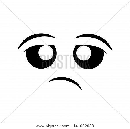 bored face cartoon expression emotion icon. Isolated and flat illustration. Vector graphic