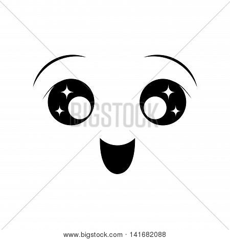 happy face cartoon expression emotion icon. Isolated and flat illustration. Vector graphic