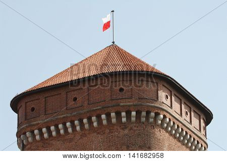 Watchtower With The Polish Flag In The Wawel Castle In Krakow