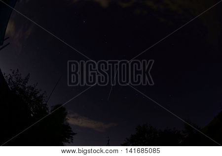 The ISS crossing by over the evening sky just after dawn in the Ukraine