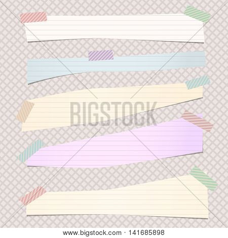 Pieces of cut pastel, ruled note paper are stuck with colorful striped sticky tape on grid pattern.