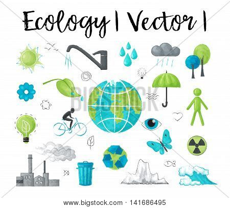 Modern watercolor design vector illustration concept of ecology and saving earth environment problem for graphic and web design